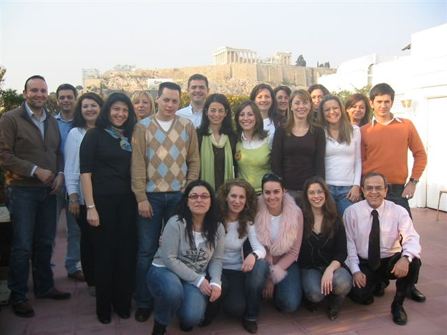 One of John's PP&C Classes on a lunch break.  Yes that is the Parthenon behind them!