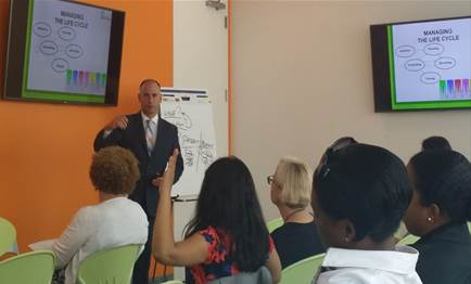 "Dave running a ""Project Management Survival"" Lunch and Learn in New York City"